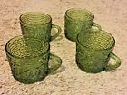 4 Vintage Soreno Avocado Green Glass Snack Punch Coffee Cups Anchor Hocking