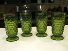 Vintage Indiana Glass Colony Whitehall (4) Olive Green Footed Tumblers 6