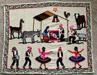 Vintage South American Christmas Nativity Scene Fabric Wall Hanging 29 x 24