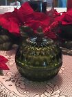 Vintage Green Indiana Glass Covered Candy Dish Brass Acorn Top Mt Vernon Pattern