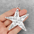 2 5Pcs Large Antique Silver Hammered Starfish Sea Star Charms Pendants Jewelry