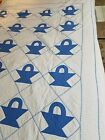 Wonderful Vintage Blue and White Baskets Quilt