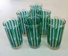 Mid Century Modern Green and Blue Designs on Clear Glass Tumblers, Set of 6