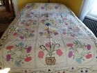 Vintage 1930's Cottage Style Quilt Top Pansies and Butterflies