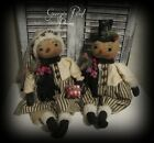 Primitive Snowman Doll Set~Christmas Folk Art Snowman doll~Handmade Prim Christm