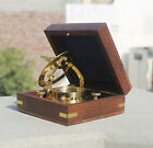 Nautical Brass Finish Sundial Compass With Wooden Box Christmas Best Home Decor.