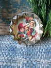 Antique Tin Biscuit Cutter with Old Christmas Postcard Print