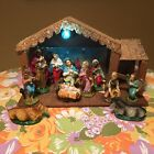 Vtg Mid Century CHRISTMAS NATIVITY Set FIGURINES MANGER CRECHE ITALY Lighted