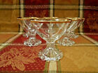 VINTAGE ANCHOR HOCKING BOOPIE-GOLD RIM  7 SHERBET BUBBLE BASE GLASSES PREOWNED
