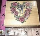 Romantic wreath B5 roses and ribbons rubber stampedewooden rubber stamp