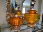 Pair of Vintage Mid Century Modern Hollywood Regency Amber Glass Table Lamps