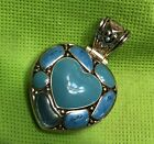 Large turquoise Look Pendant Heart Shaped Beautiful With Filigree Back