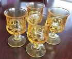 Lot of 4 - Vintage Kings Crown Yellow Water Goblets - 5 5/8