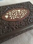 Large Vintage Floral Inlay Carved Dark Wood Jewelry Trinket Box w Purple Velvet