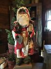 Primitive Christmas Red and White Quilt Santa Claus-Snowman_Bells
