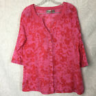 Chicos Womens Medium Size 1 Pink Red Flora Button Up V Neck Blouse