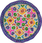 Bohemian floral embroidery work home decor round table cloth throw tapestry 35