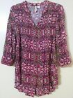 Red Camel Pink Multicolored Boho 3 4 Sleeve Button Down Tunic Juniors Large EUC