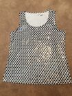 Zenergy By Chicos Blue White Polka Dot Sequin Shirt Top Size 1