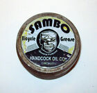 VINTAGE BLACK AMERICANA SAM HANDCOCK OIL CO BICYCLE GREASE ROUND TIN CONTAINER