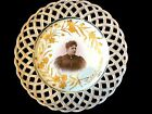 ANTIQUE HAND PAINTED PORCELAIN PLATE FROM 1895 GERMANY,OPEN WORK AND GOLD DECOR.