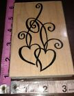 Two hearts entwined big stampendouswood rubber stamp