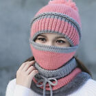 Winter Women Ladies Wooly Knit Hat And Scarf Set Knitted Woollen Beanie Ski Cap