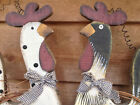 COUNTRY Wood ROOSTER and HEN Hanging Farm House Decor