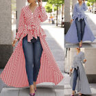 US Women Striped Long Sleeve Shirt Dress Blouse T-shirt Tunic Slim Casual Tops