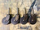 ANTIQUE FURNITURE CASTER SET, Vtg Art Deco Table Steel Swivel Wooden Wood Wheel