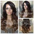 Synthetic Lace Front Wig Ombre Long Wavy Brown Layers Heat Safe Ok Wig For Women