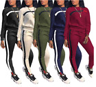 Womens 2 Piece Outfits Stripe Pullover Tracksuit Hoodies Jumpsuit Sports Set