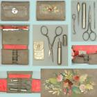 Antique Embroidered Folding Leather Sewing Set w/ Tools * English * Circa 1890s
