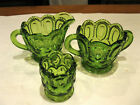 Vintage L.E. Smith Moon and Stars Green Creamer / Sugar Bowl / Toothpick Holder