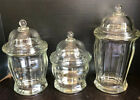 Vintage 'The Jar' Crystal Glass Apothecary Set Of 3 SM-MD-LG by Indiana Glass