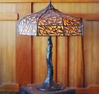 Handel Bamboo leaf table lamp, mission arts and crafts