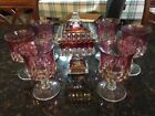Indiana Tiffin Pedestal Candy Dish plus SIX Ruby Flash Kings Crown Thumbprint Go