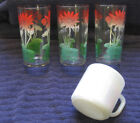 Federal Iridescent Milk Glass Mug 3 Water Lily Swanky Swig Tumbler Fire King Era