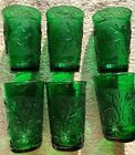 Lot Of 6 Vintage Anchor Hocking Emerald Green Sandwich Oatmeal Juice Glasses