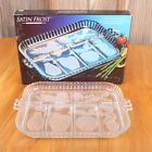 Vintage Indiana Glass Satin Frost 5 Part Divided Relish Tray In Original Box