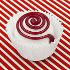 Hulet Glass Red White Spiral Chocolate Candy Handmade 16 047WH