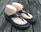 Womens COLE HAAN  D30479  Black Patent Leather T Strap Thong Sandals 9