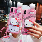 Cute Hello Kitty Strap Doll Soft TPU Case Cover for iPhone 7 8 plus XR XS Max X