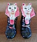 Puss In Boots Figural Salt  Pepper Shakers Hand Painted Ceramic Vintage Japan