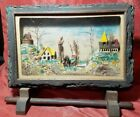 1932 HAND CARVED WOODEN 3D VILLAGE SCENE FOLK ART NATURAL BARK FRAME W/ STAND