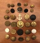 Collection of 30  Antique/Vintage Anchor  Buttons, Various Materials,1/2
