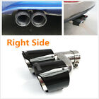 1X H Style Right Side Steel+Carbon Fiber Car Dual Pipe Exhaust Pipe Tail Muffler