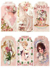 SET OF 12 15X3 WOMEN ROSES AND LACE VINTAGE SCRAPBOOK CARD HANG GIFT TAGS