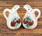 Pinecone Pitcher Figural Salt  Pepper Shakers Hand Painted Ceramic Japan