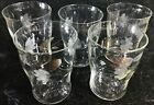 Vintage Drinking Glasses Juice Tumbler White Floral Etching LOT OF 5
